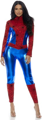 Forplay Women's Metallic Hero Mock Neck Catsuit with Spider Web Print Contrast