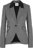 Tod's Leather-trimmed wool blazer