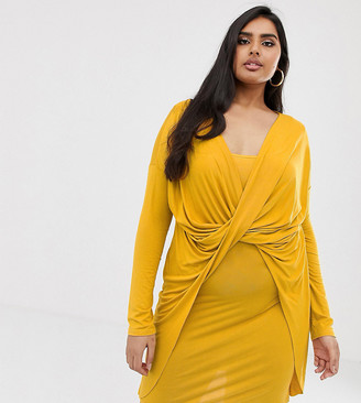 Koco & K Plus soft touch ruched knot front mini dress in mustard