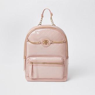 River Island Girls pink patent embossed monogram backpack
