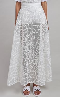 Elie Saab Tulle Embroidery Midi Skirt