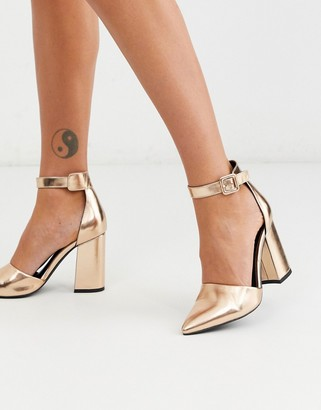 London Rebel pointed block heeled shoes in rose gold