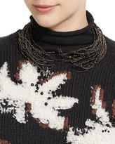 Brunello Cucinelli Opened Hematite Branch Choker Necklace, Brown