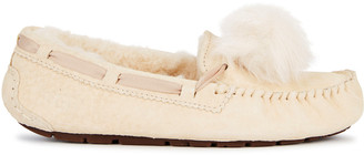UGG Dakota Cream Pompom Suede Slippers