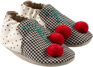 Robeez Mixed Print Pompom Cherry Leather Slip-On