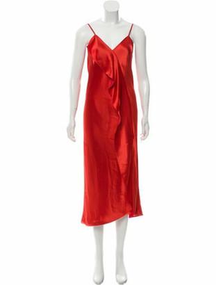 Mestiza New York Ruffle-Trimmed Satin Dress w/ Tags