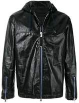 Diesel Black Gold Men's Black Leather Outerwear Jacket.