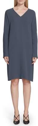 Lafayette 148 New York Thurman Finesse Crepe Long Sleeve Shift Dress