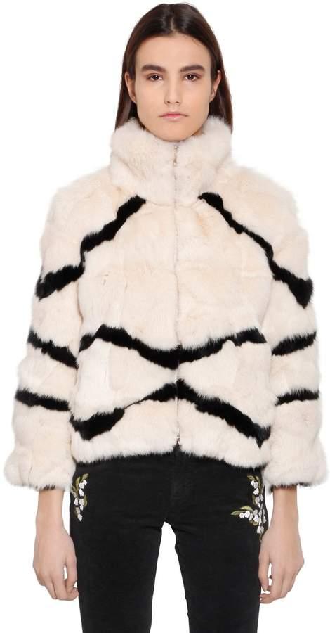Blugirl Striped Rabbit Fur Jacket