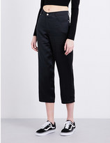 Opening Ceremony Cropped high-rise silk-charmeuse trousers