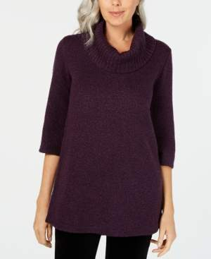 Karen Scott Petite Cowl-Neck 3/4-Sleeve Sweater, Created for Macy's