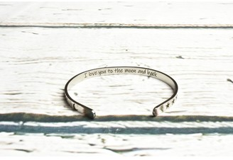 5mm Solid Stainless Steel Inspirational Cuffs by Pink Box I love you to the moon Silver