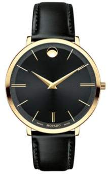 Movado Ultra Slim Goldtone Stainless Steel& Leather Strap Watch