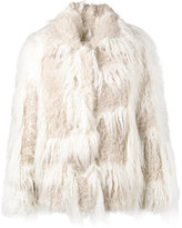 Helmut Lang faux fur cropped coat - women - Cotton/Acrylic/Modacrylic/Cupro - S