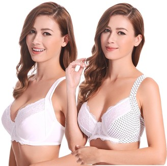 Curve Muse Plus Size Unlined Underwire Lace Bra with Padded Shoulder Straps-2PK - - 48B