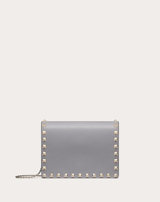 Valentino Garavani Rockstud Grainy Calfskin Chain Pouch Women Pastel Grey OneSize