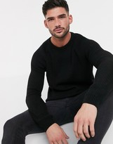 Asos Design DESIGN ribbed sweater with raglan sleeve in black