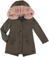 Mayoral Faux Fur Hooded Jacket, Brown, Size 8-16