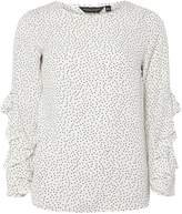 Dorothy Perkins Ivory Spotted Ruffle Long Sleeve Top