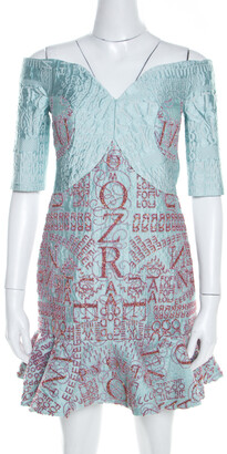 Mary Katrantzou Mint Blue Jacquard and Glitter De Beau Cocktail Dress M