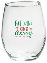 Kate Aspen Set of 4) Eat Drink Be Merry 15 oz. Stemless Wine Glass