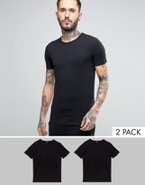 Boss Black By Hugo Boss Crew T-shirt 2 Pack In Slim Fit Black