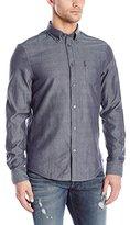 Ben Sherman Men's Long Sleeve Reversible Dobby Button Down Shirt