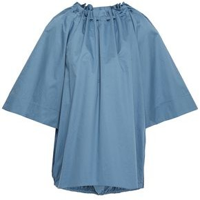 Tibi Gathered Cotton-poplin Top
