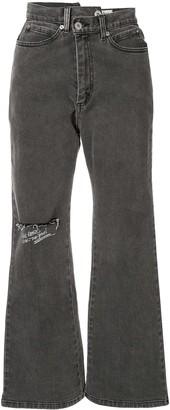 Ground Zero Asymmetric Printed Flared Jeans