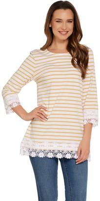 Denim & Co. Yam Dye Stripe 3/4 Sleeve Knit Top with Lace Trim