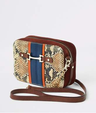 River Island Snake Print Leather Cross Body Bag - Rust
