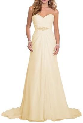 Solovedress Women's Elegant Chiffon Bridal Wedding Dresses A Line Evening Dress Gown (UK 12