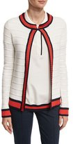 St. John Honeycomb Inlay Striped Knit Jacket, White