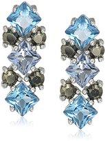 Judith Jack Sterling Silver/Swarovski Marcasite Blue Cluster Stud Earrings