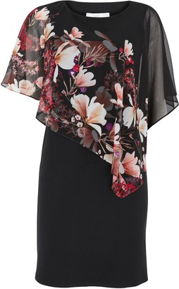 Wallis PETITE Black Floral Print Overlay Dress