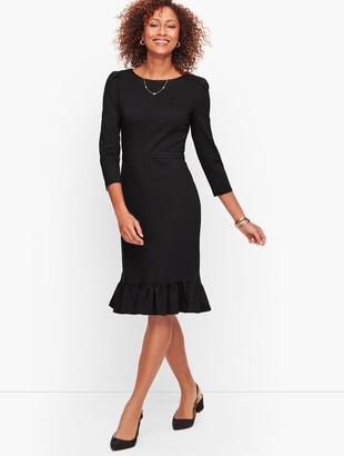 Talbots Flounce Hem Ponte Sheath Dress - Solid
