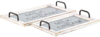 Uma Enterprises Set Of 2 Farmhouse Wood And Metal Trays