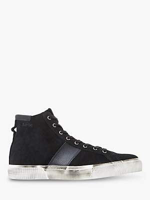 Bertie Canister Leather High Top Trainers, Black