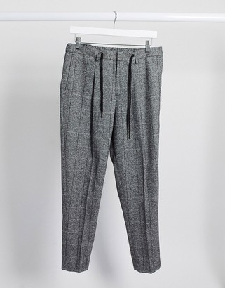 Selected wool mix grid check trousers with elastic waist in grey