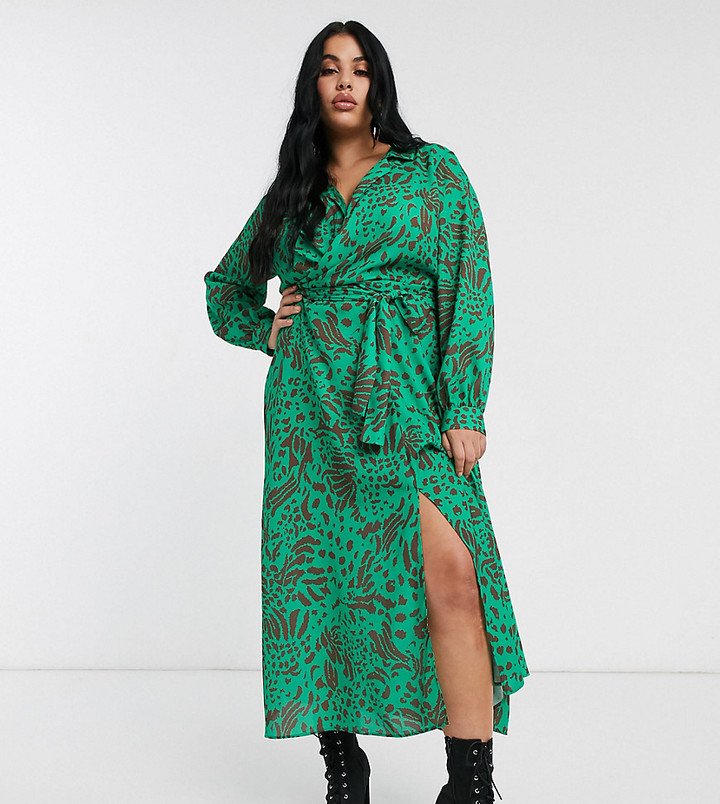 ASOS DESIGN Curve wrap front midi dress in abstract animal print