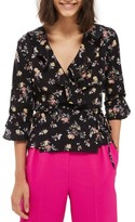 Topshop Women's Floral Ruffle Wrap Top