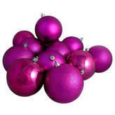 Asstd National Brand 16ct Light Magenta Pink Shatterproof 4-Finish Christmas Ball Ornaments 3 (75mm)
