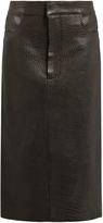 Raey Tumbled-leather midi pencil skirt