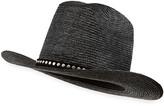 Saint Laurent Kate Studded Straw Cowboy Hat