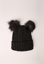 Missguided Double Pom Beanie Hat Black