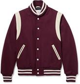 Golden Bear - Leather-trimmed Virgin Wool-blend Varsity Jacket