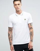 Lyle & Scott Tipped Pique Polo Eagle Logo Jacquard Collar