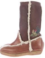 Fendi Shearling Logo Boots