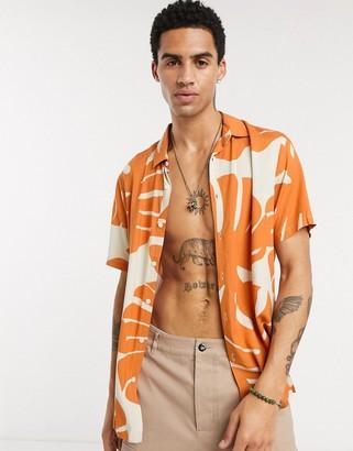 ASOS DESIGN regular fit slub viscose shirt in large scale floral