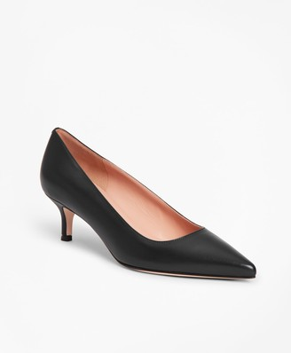 Brooks Brothers Leather Point-Toe Kitten Heels